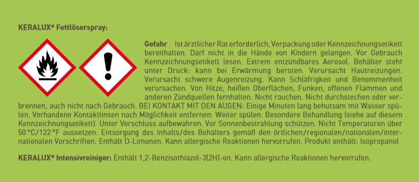 KERALUX® Reinigungs-Set für Schweiß und Verspeckungen 2